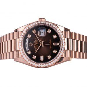 Đồng Hồ Rolex Day-Date 36 128345RBR Mặt Số Ombré Nâu